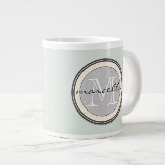 Light Textured Teal Background Gray Monogram Large Coffee Mug