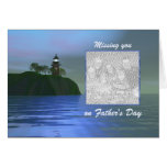 Light the Way Blue Father's Day (photo frame) Greeting Card