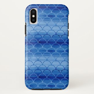 Light to Dark Blue Painted Scale Pattern iPhone X Case