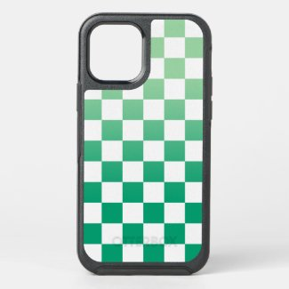 Light to Dark Green and White Checkered Pattern OtterBox iPhone Case