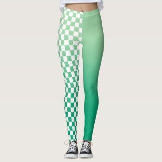 Light to Dark Green Gradient and Checkered Pattern Leggings