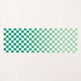 Light to Dark Green Ombré Checkered Pattern Yoga Mat
