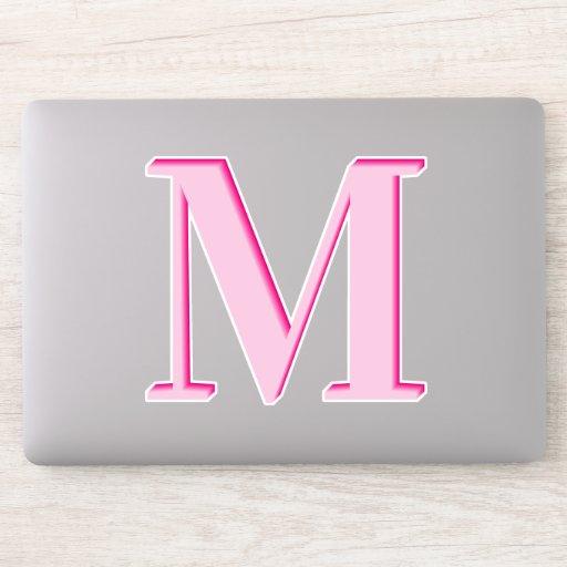 Light to Hot Pink Ombre Monogram Sticker