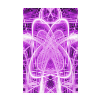 Light trails figure on purple canvas print