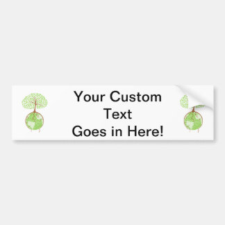 light tree on world eco design.png bumper stickers