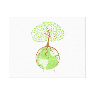 light tree on world eco design.png stretched canvas prints