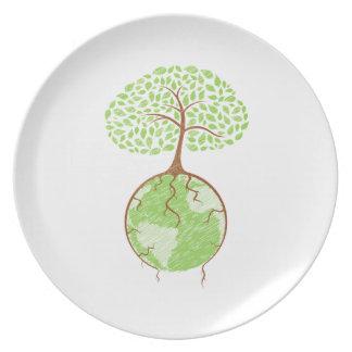 light tree on world eco design png plates