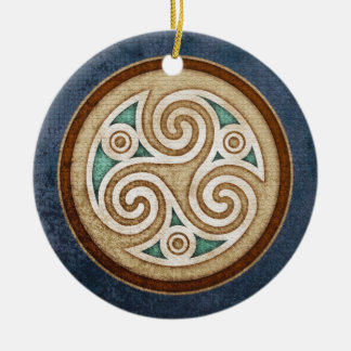 Light Triskele Pendant/Ornament Double-Sided Ceramic Round Christmas Ornament