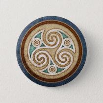 Light Triskele Round Button