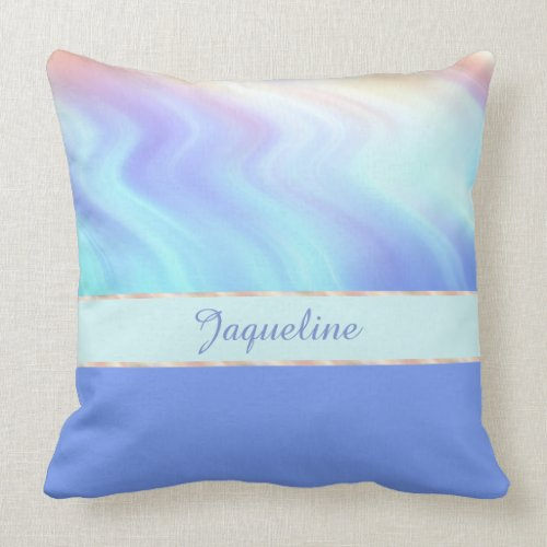 Light Turquise Swirls and Periwinkle Blue Throw Pillow