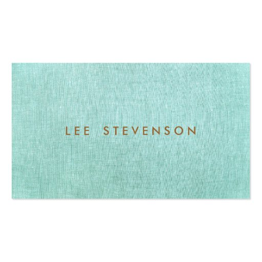 Light Turquoise Blue Linen Look Minimalist Business Card Template