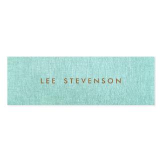 Light Turquoise Blue Linen Look Minimalist Mini Business Card