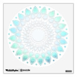 Light Turquoise Blue Lotus Flower Wall Decal<br><div class='desc'>Digitally illustrated in a shimmery foil like aqua blue color.</div>