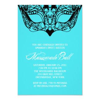 "Light Turquoise Blue Masquerade Invitations 5"" X 7"" Invitation Card"