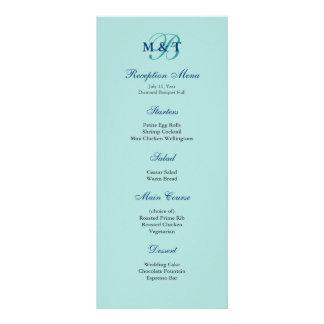 Light Turquoise Blue Monogram Reception Menu Custom Rack Cards