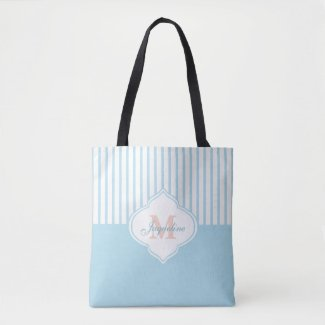 Light Turquoise Colorblock Stripe Monogram