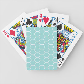 Light Turquoise Hexagon Honeycomb Pattern Bicycle Playing Cards