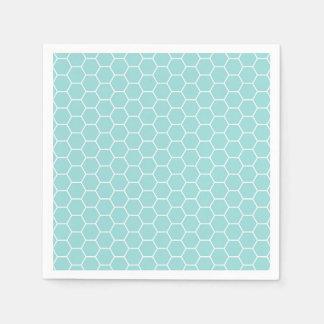 Light Turquoise Hexagon Honeycomb Pattern Disposable Napkins