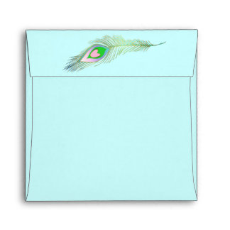 Light Turquoise Peacock Feather Wedding Envelope