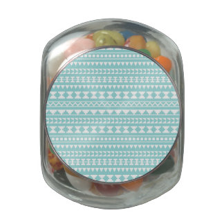 Light Turquoise Tribal Aztec Pattern Jelly Belly Candy Jars