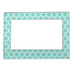 Light Turquoise White Moroccan Lattice Magnetic Photo Frame