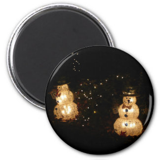 Light-Up Snowmen Holiday Light Display Photograph 2 Inch Round Magnet