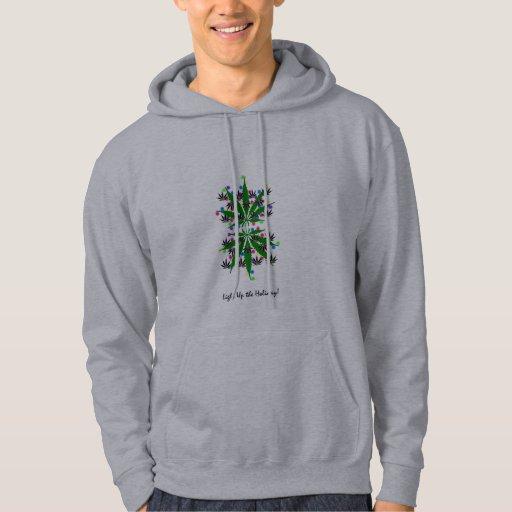 Light Up the Holidays! marijuana leaf hoodie