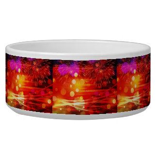 Light Up the Sky Light Rays and Fireworks Pet Food Bowl