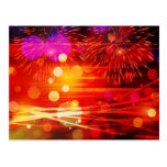 Light Up the Sky Light Rays and Fireworks Postcard