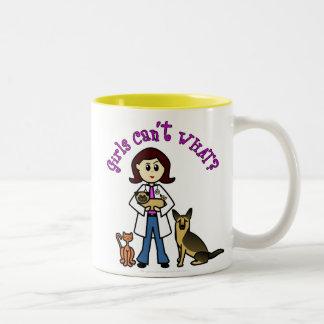 Light Veterinarian Girl Two-Tone Coffee Mug