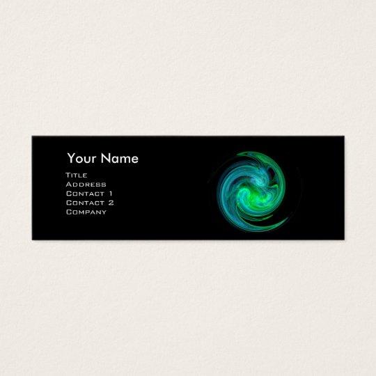 LIGHT VORTEX MONOGRAM Vibrant black blue green Mini Business Card