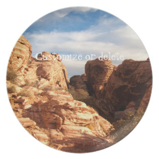 Light vs Shadow on Red Cliffs; Customizable Party Plate