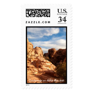 Light vs Shadow on Red Cliffs; Customizable Postage Stamp