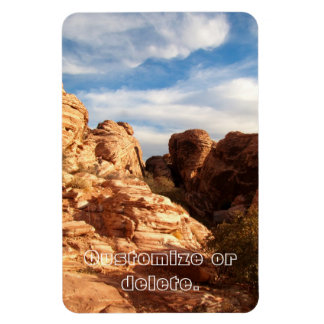 Light vs Shadow on Red Cliffs; Customizable Rectangular Photo Magnet