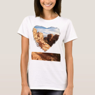 Light vs Shadow on Red Cliffs; Customizable T-Shirt