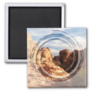 Light vs Shadow on Red Cliffs 2 Inch Square Magnet