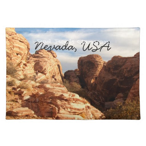 Light vs Shadow on Red Cliffs; Nevada Souvenir Cloth Placemat