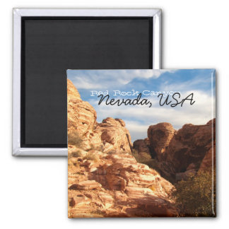 Light vs Shadow on Red Cliffs; Nevada Souvenir 2 Inch Square Magnet