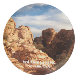 Light vs Shadow on Red Cliffs; Nevada Souvenir Party Plate