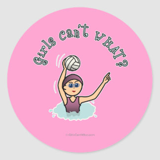Light Water Polo Player Girl Classic Round Sticker
