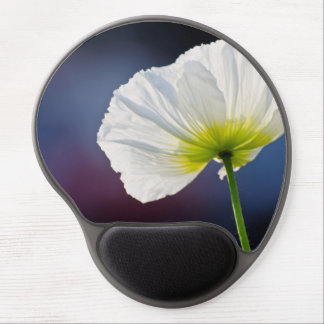 Light White Flower on deep purple blue background Gel Mouse Pad