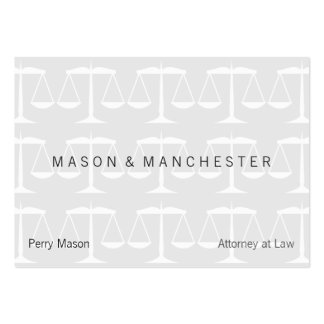 """Light White """"Watermark Style"""" Scales of Justice Large Business Cards (Pack Of 100)"""