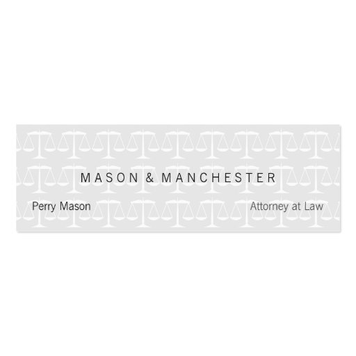 Light white quotwatermark stylequot scales of justice mini for Watermark business cards