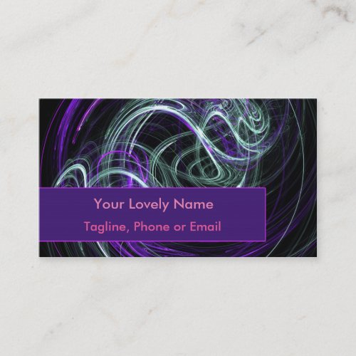 Light Within, Abstract Fractal Violet Indigo Swirl Business Card