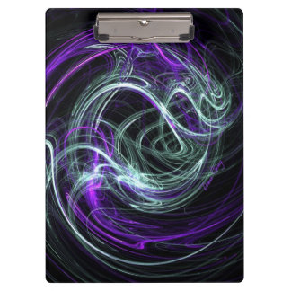 Light Within, Abstract Fractal Violet Indigo Swirl Clipboard