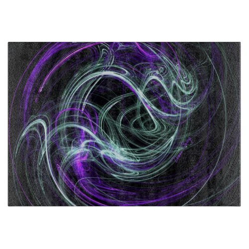 Light Within, Abstract Fractal Violet Indigo Swirl Cutting Board