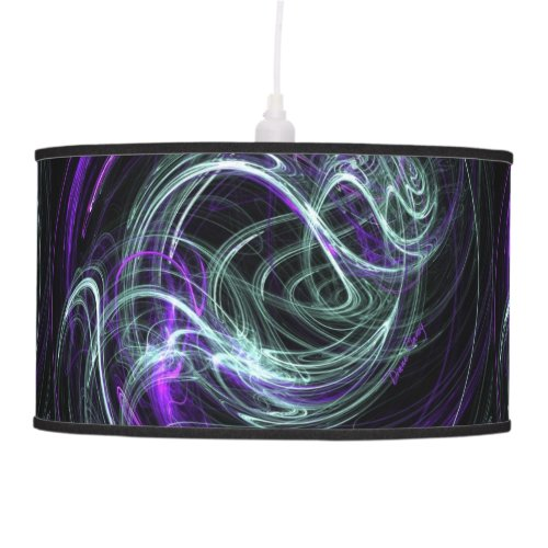Light Within, Abstract Fractal Violet Indigo Swirl Hanging Lamp