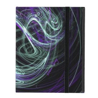 Light Within, Abstract Fractal Violet Indigo Swirl iPad Folio Cases