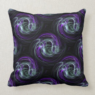 Light Within, Abstract Fractal Violet Indigo Swirl Throw Pillow