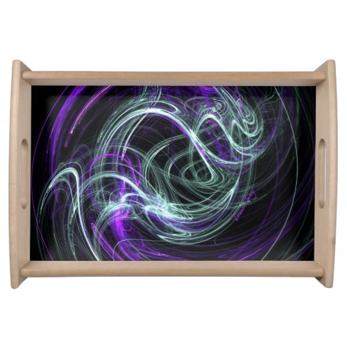 Light Within, Abstract Fractal Violet Indigo Swirl Serving Tray